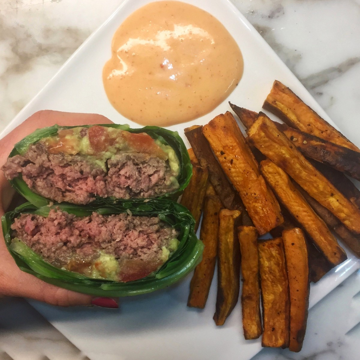 Bunless Burger with Sweet Potato Fries & Spicy MayoSauce