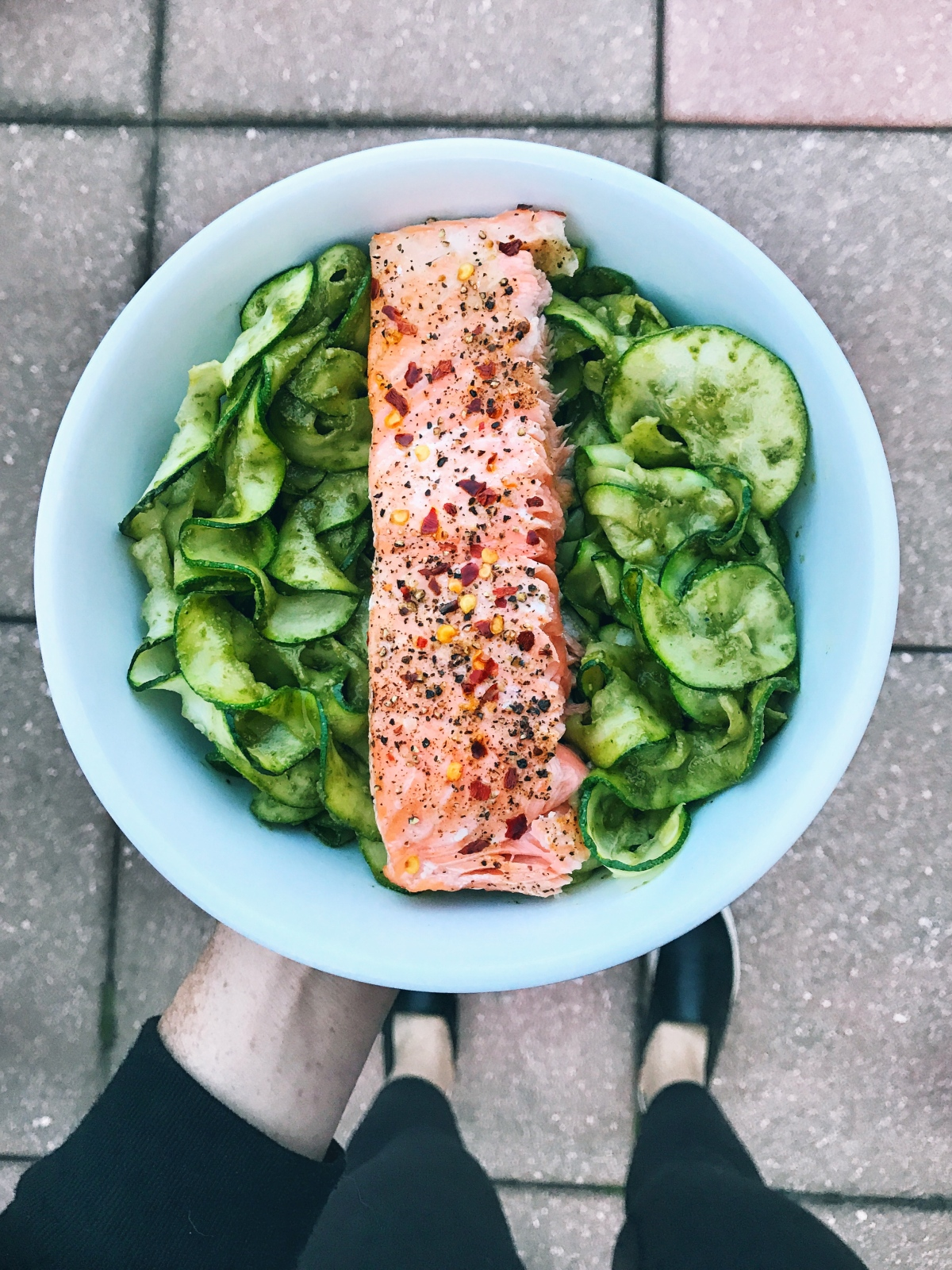 Zucchini Noodles with Creamy Avocado Pesto and Spicy Coconut Salmon