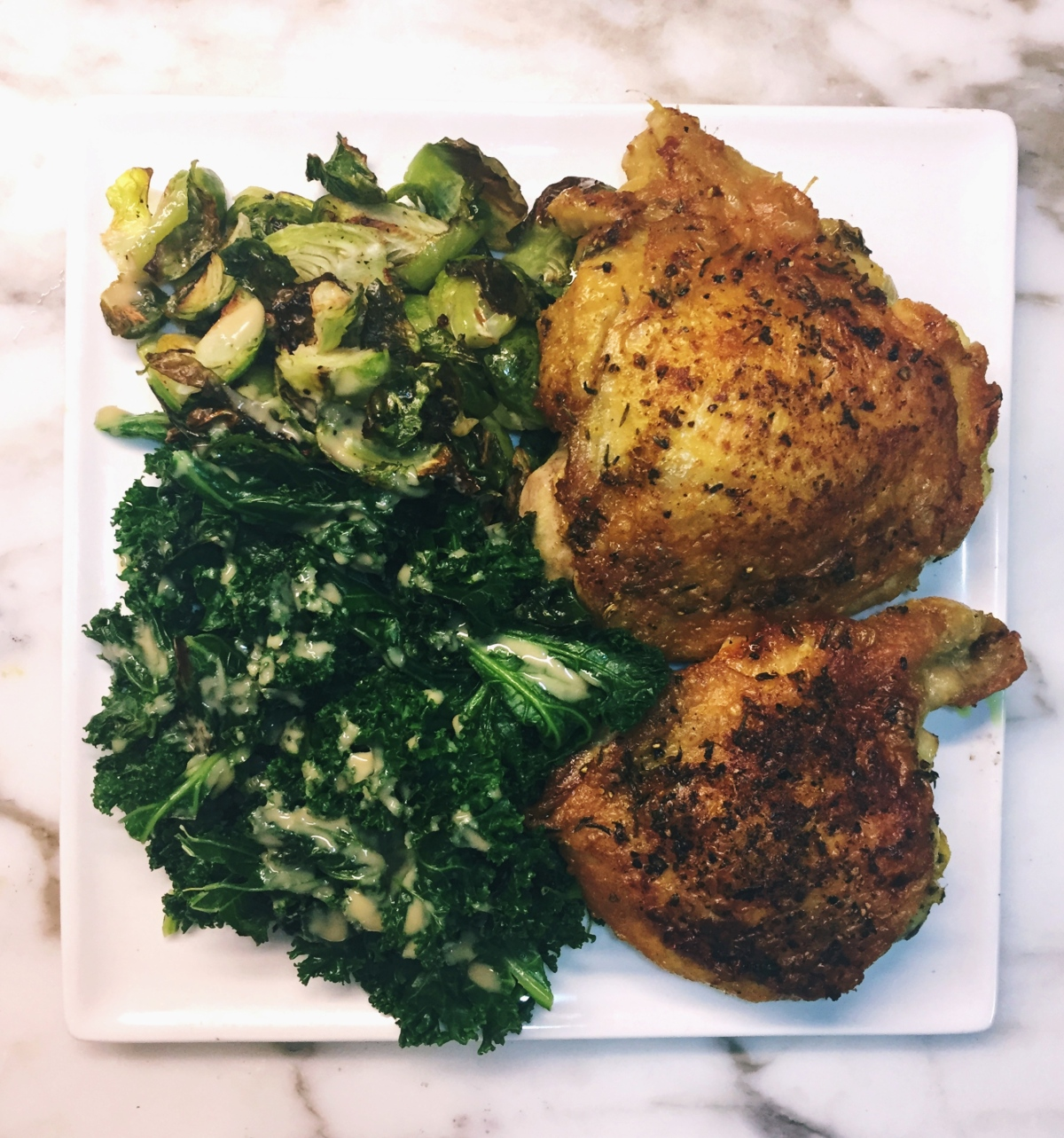Brick Turmeric Chicken with Tahini Kale and BrusselSprouts
