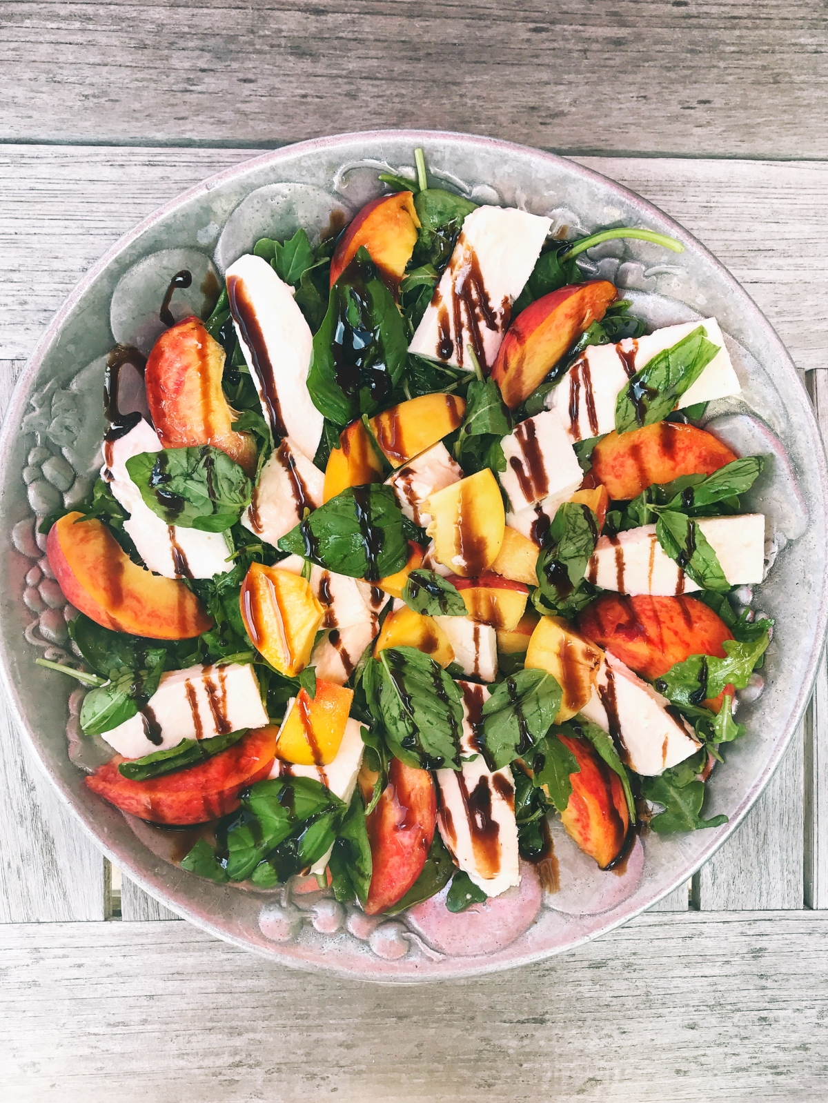 Five Minute Summer Spinach Salad with Peaches and Mozzarella