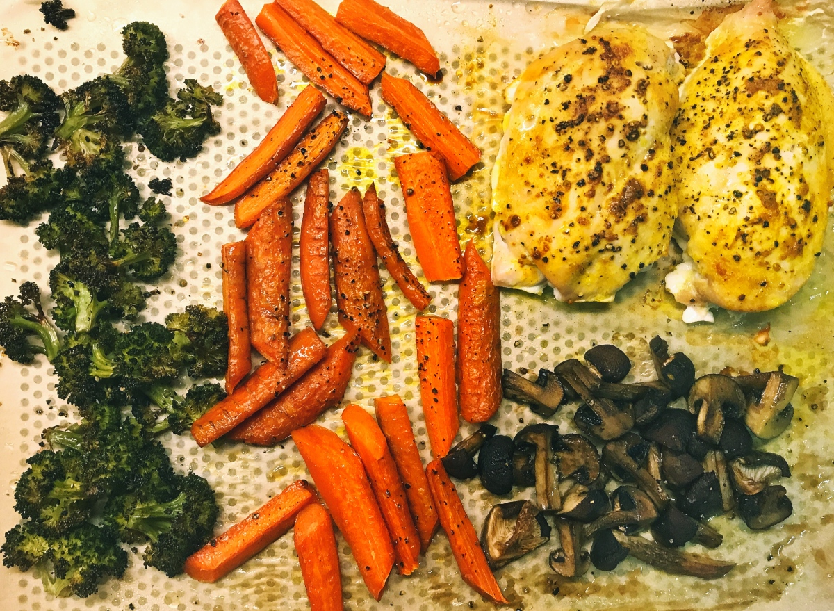 One Sheet Meal: Baked Chicken with Roasted Broccoli, Carrots, and Mushrooms