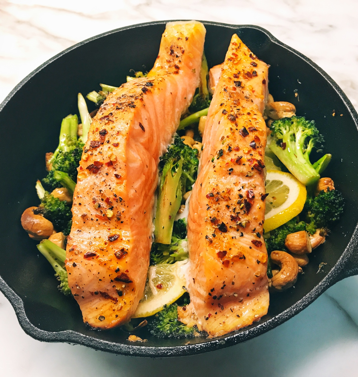 Coconut Salmon Skillet with Broccoli and Cashews