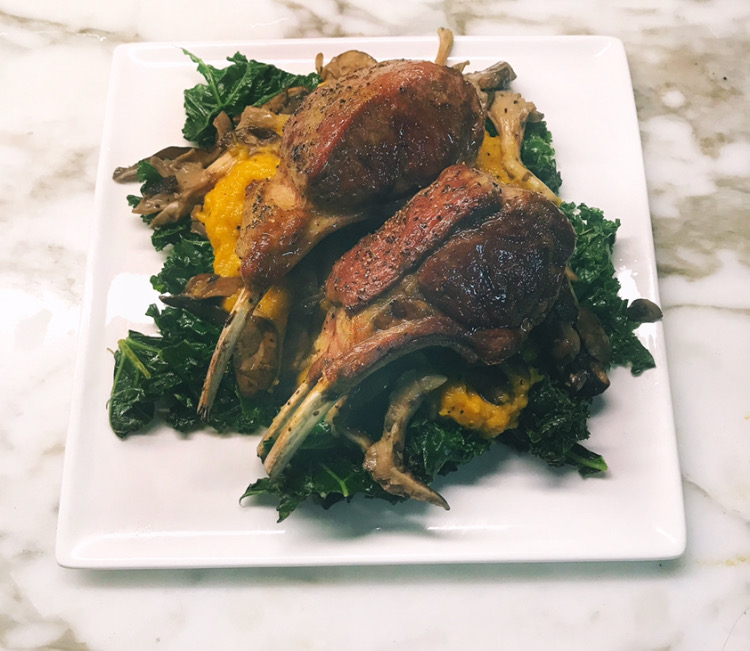 Rack of Lamb with Crisped Kale, Sautéed Mushrooms, and Butternut Squash Puree