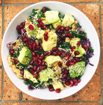 Kale Tahini Salad with Avocado, Pomegranate, andWalnuts