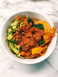 Vegetable Ribbon Noodles with MeatSauce