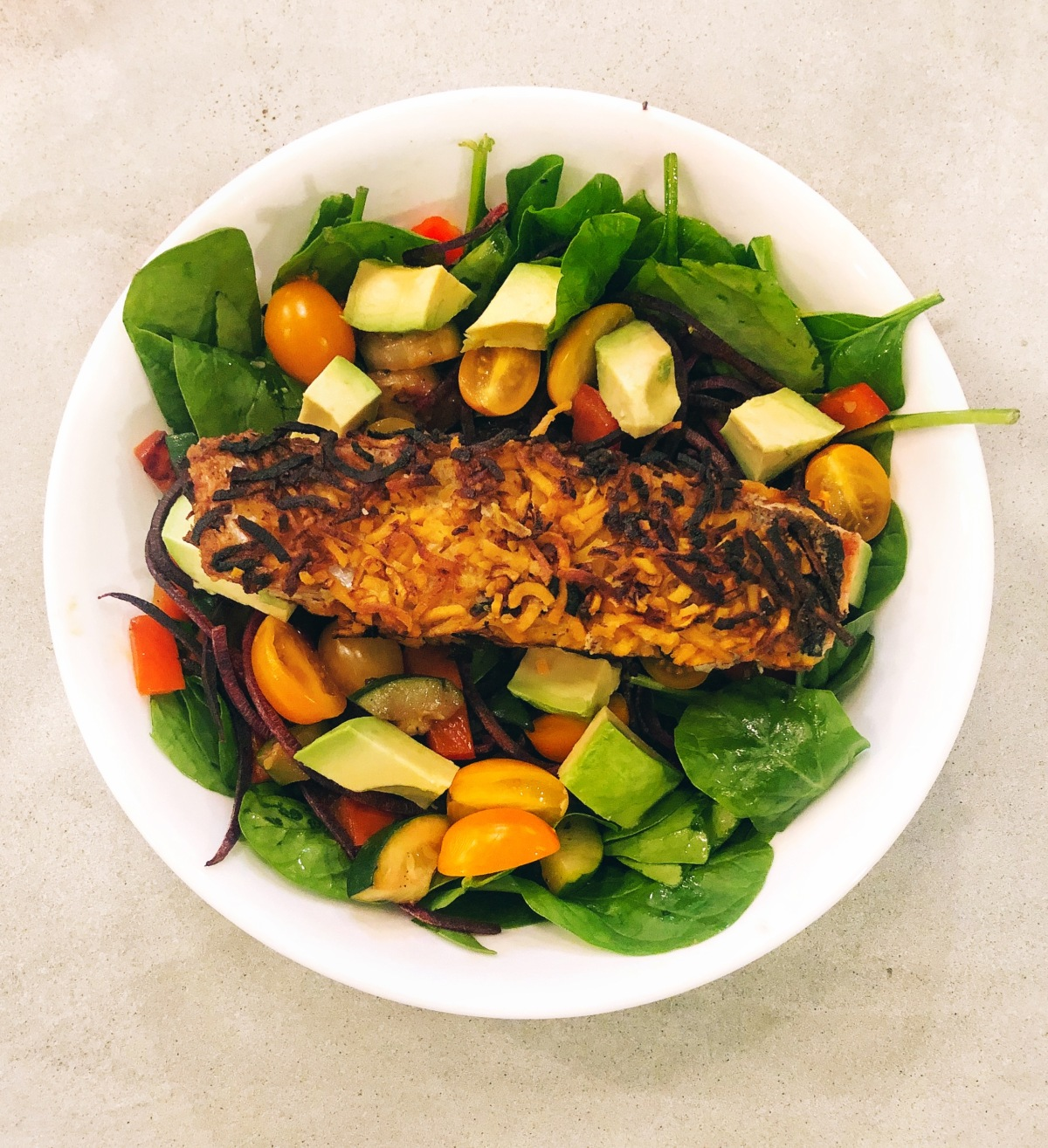 Sweet Potato Crusted Salmon with a Veggie-Packed Salad